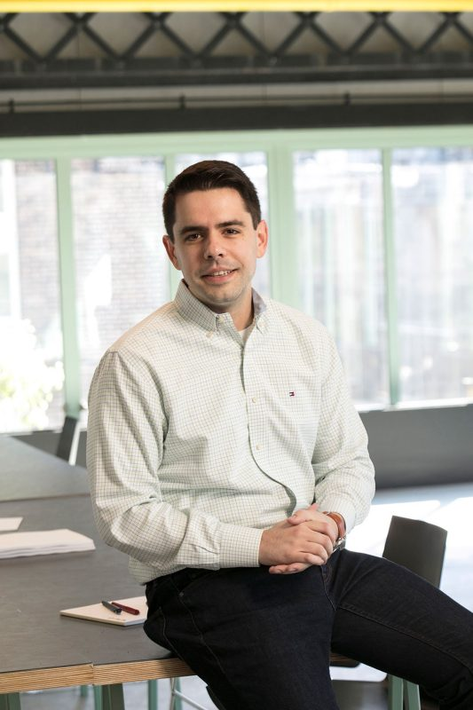 Portrait of Jeffrey Morelli '10 co-founded Inspiren, a company that has deployed its technology to the epicenter of the COVID-19 pandemic to help in a time of need. Photo courtesy of Jeffrey Morelli.