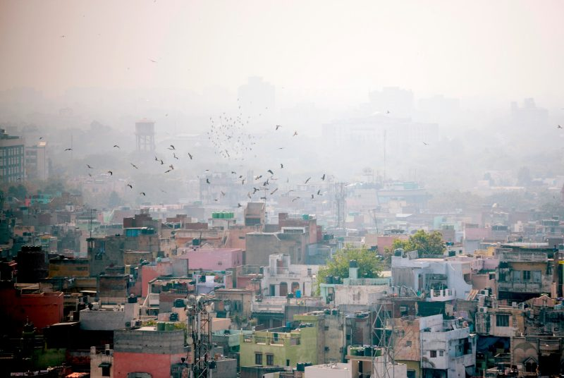 The air over in Delhi, India, is shown as heavily polluted