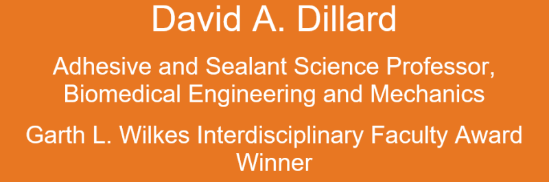 Orange box with David Dillard typed and his title as biomedical engineering and mechanics professor