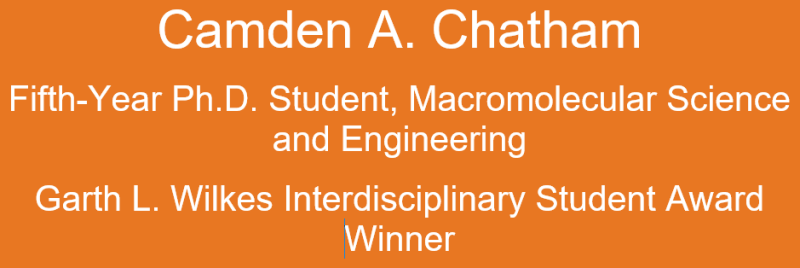 Camden Chatham in orange box with information about him being a fifth-year macromolecular engineering student