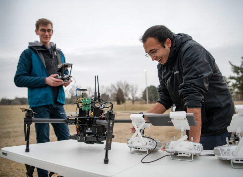 Picture of engineering students working on drones